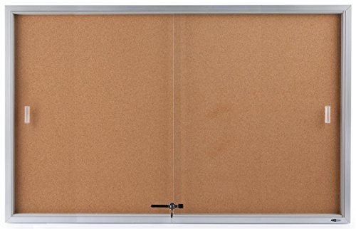 Displays2go 60 x 36 Inches Wall Mountable Enclosed Bulletin Board with Sliding Glass Doors, Cork Board Display Surface (Sliding Door Cork Board)