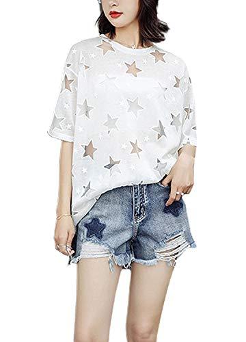 Novia's Choice Women Fluorescence Sheer Mesh Top See Through Short Sleeve Cover Up T-Shirt(White Star S)