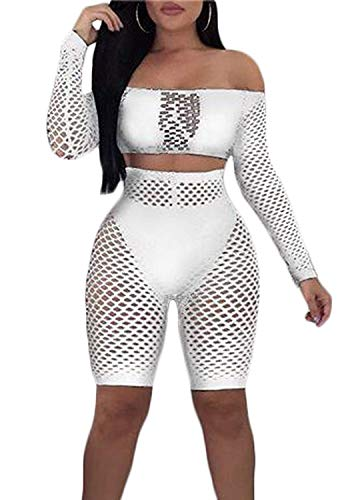 Women See Through Off Shoulder Long Sleeve Fishnet Crop Tops Bodycon Shorts Party Clubwear Tracksuit 2pcs Outfit Set (White, L) - Off Shoulder Fishnet