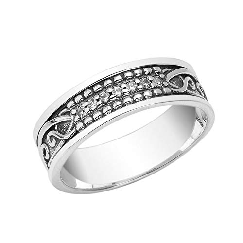 Fine Sterling Silver Diamond Celtic Knot 7.5mm Vintage Wedding Band (Size 14.5)