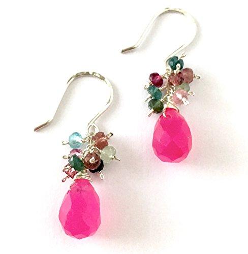 Pink Jade Drop Earrings with Watermelon Tourmaline