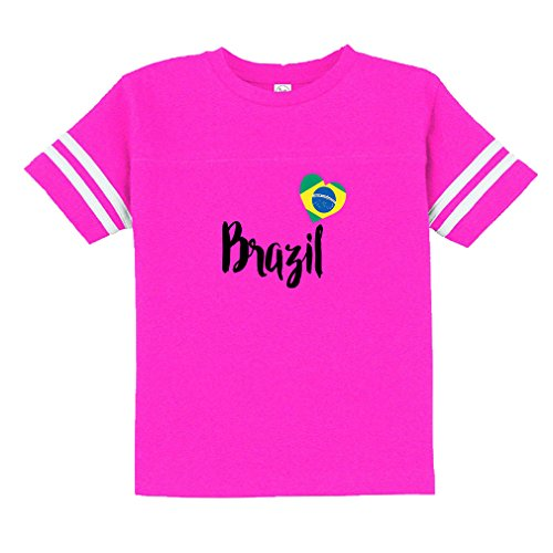 Heart Love Brasil Brazil 60/40 Cotton/Polyester Contrasting Stripes Ribbed Collar Unisex Toddler Sports T-Shirt Football Jersey - Hot Pink, 4T Pro Style Football Jersey