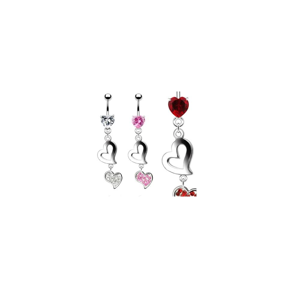 Jeweled heart belly ring dangling double hearts, pink