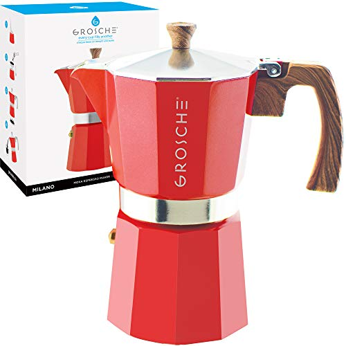 GROSCHE Milano Stovetop Espresso Maker Moka Pot 9 Cup, 15.2 oz, Red - Cuban Coffee Maker Stove top coffee maker Moka Italian espresso greca coffee maker brewer percolator