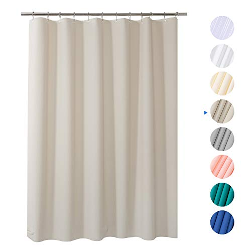 AmazerBath Plastic Shower Curtain, 72 x 72 Khaki EVA 8G Thick Bathroom Shower Curtains Eco-Friendly with Heavy Duty Clear Stones and Rust-Resistant Grommet Holes
