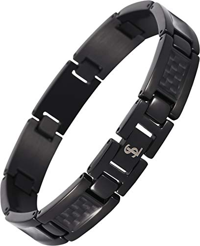 Smarter LifeStyle Elegant Surgical Grade Steel Men's Carbon Fiber Bracelet, Stylish Without Magnets (Black Bracelet, Black Carbon Fiber) (Fiber Bracelets Carbon)