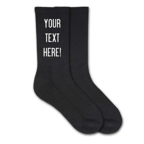 Custom Printed and Personalized Socks with Your Text - Men's Black Crew - Cotton Custom Socks