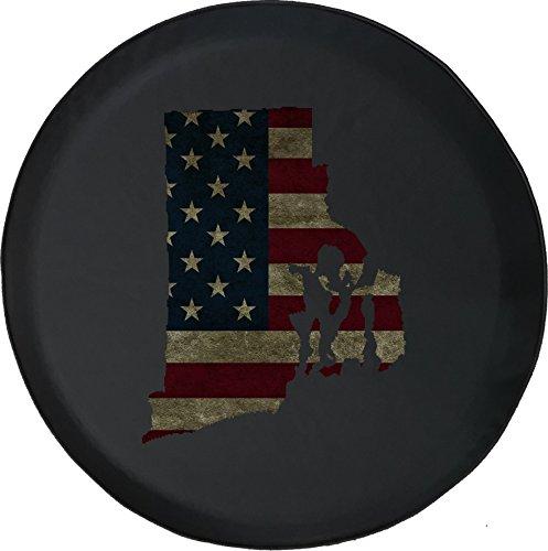 556 Gear Rhode Island -Distressed American Flag Jeep RV Spare Tire Cover Black 29 ()