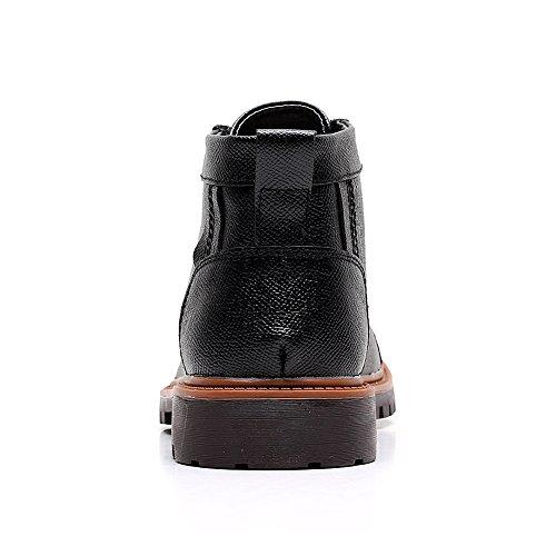 Shenn Herren Knöchel Verschleißfestigkeit Klassisch Vollnarbigem Leder Motorbike Stiefel Schwarz
