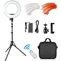 FOSITAN 14 Outer LED Ring Light 3200K/5500K LED Dimmable Camera Photo Video Lighting Kit with 2M Adjustable Stand, Cradle Head, Bluetooth Receiver for YouTube, Studio Shooting, Portraiture