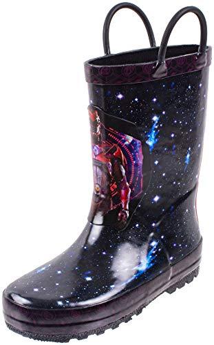 Power Rangers Boy's Rain Boots, Red Ranger Galaxy Print, Waterproof with Easy On Handles Shoe, Black, Little Kid Size 11-12