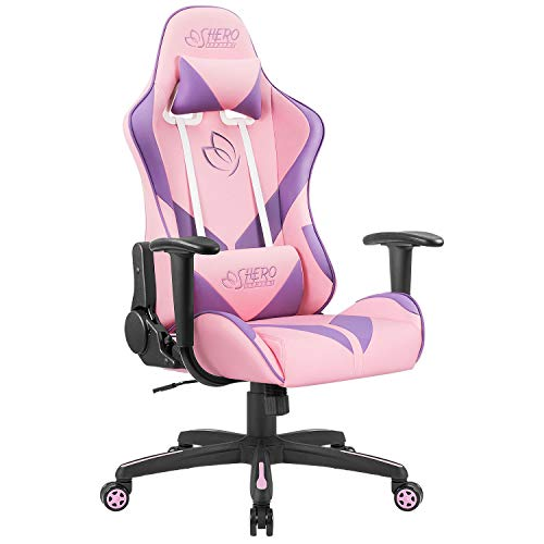 Homall Gaming Chair Racing Office Chair High Back Computer Desk Chair Leather Executive Adjustable Swivel Chair with Headrest and Lumbar Support (Pink)