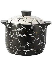 XXDTG Ceramic Casserole Nordic Black White Marble Pattern Soup Pot Stew Pot Flame Heat Resistant Home Kitchen Cooking Supplies