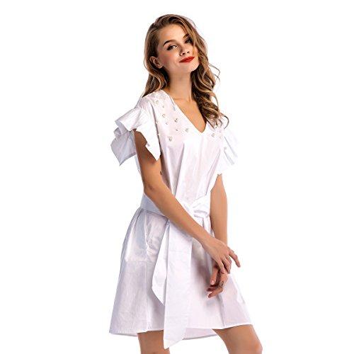 YAMEE Damen Sommerkleider Weiß Elegante Freizeitkleid Ballkleid ...