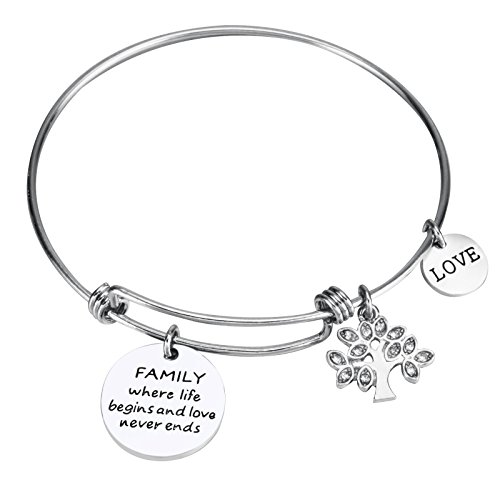Udobuy Expandable Family Tree Charm Bangle - Family Where Life Begins and Love Never Ends and Love Inscriptions Bracelet ()
