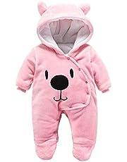 Runuo nyfödd baby lekdräkt, baby vinter overall med huva pyjamas ytterkläder spädbarn utrustning