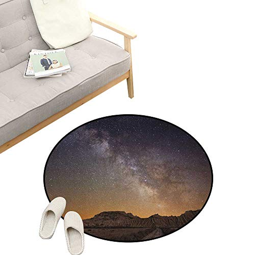 Night Modern Flannel Microfiber ,Milky Way Over Desert of Bardenas Spain Ethereal View Hills Arid Country, Round Rug Living Room Bedroom Decor 39