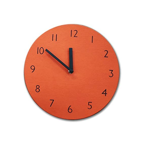 "THEHAKI Sandwich Clock 9"" Retro Color Silent Quartz Non-ticking Simple Light Colorful Wall Clock (Orange) - Material: Artificial Leather(PU), Paper, EVA Size:9.1""Dia x 0.8""Deep Very light(0.4lb) and safe sandwich style clock - wall-clocks, living-room-decor, living-room - 41tRacueWHL. SS570  -"