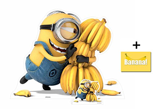 Fan Pack - Minion holding Bananas Despicable Me 3 Minions Lifesize and Mini Cardboard Cutout / Standup / Standee - Includes 8x10 Star Photo