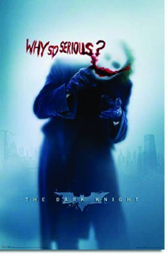 Dark Knight Posters - Batman: the Dark Knight Movie: Joker (Heath Ledger) 'Why So Serious' Wall Poster (Rolled) 24