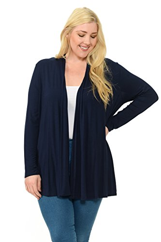 Blue Long Sleeve Sweater (Pastel by Vivienne Women's Long Sleeve Jersey Plus Size Cardigan XX-Large Navy)