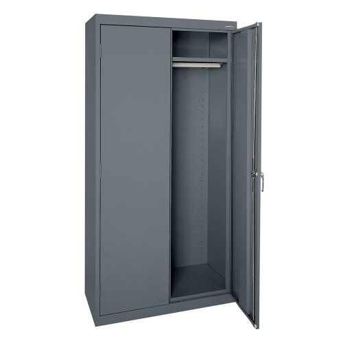 (Sandusky Lee CAW1362472-02 Charcoal Steel Wardrobe Cabinet with Adjustable Shelf, 72