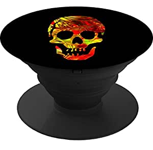 Expanding Stand and Grip Cell Phone Holder Mount for smart phone and Tablet-Floral Fire Skull
