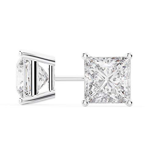 18k White Gold Princess Cut Diamond Stud Earrings 2 Carats ()