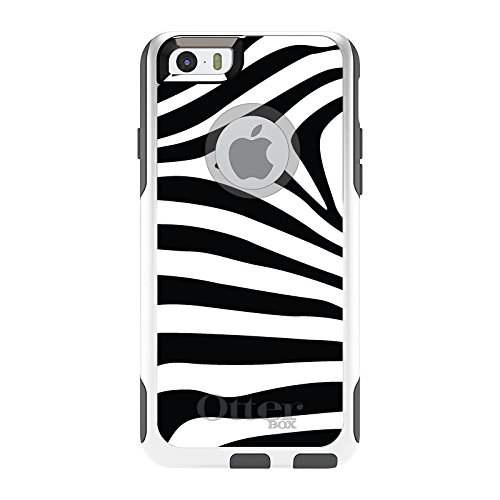 DistinctInk Case for iPhone 6 Plus / 6S Plus - OtterBox Commuter White & Grey Custom Case - Black White Zebra Skin Stripes - Zebra Skin Case