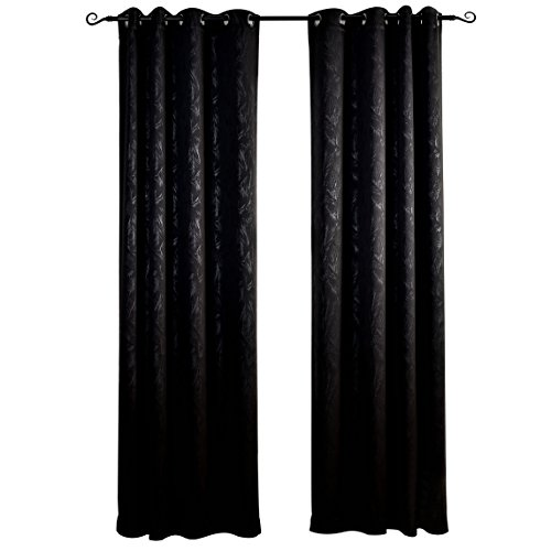 Pattern Door - MYSKY HOME Black Blackout Curtains for Night Shift Workers by Grommet Top Thermal Insualted Leaf Embossed Pattern Drapes for Bedroom (Black, 52 Inch by 95 Inch, Single Panel)