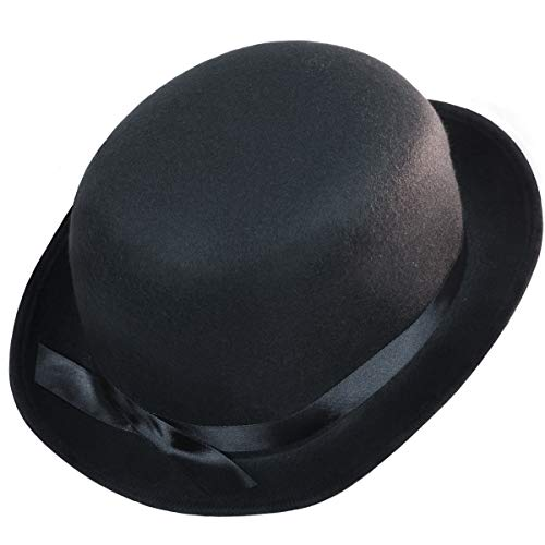 Squirrel Products Black Bowler Derby Hat - One Size with Elastic Band ()
