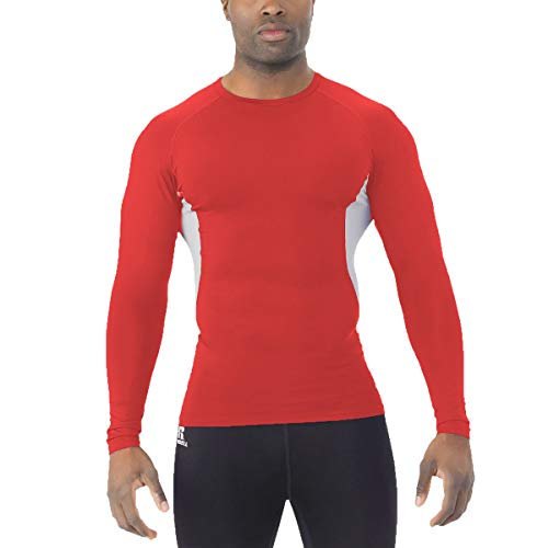 (Russell Men's Long Sleeve Compression Shirt Red/Grey M)