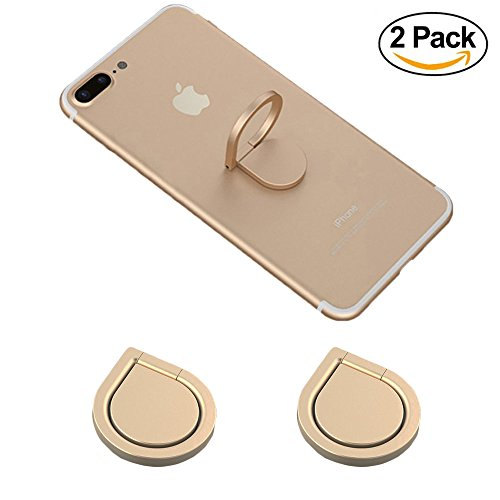 Phone Ring Holder, 2PCS Full-metal 360 Rotation Phone Grip Kickstand Work on Magnetic Car Holder Universal Finger Ring Stand for iPhone 8 7 7 Plus 6S 6 5 5S, Samsung Galaxy and iPads (Gold)