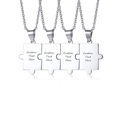 VNOX Friendship Jewelry Customizable Name Matching Puzzle Piece Stainless Steel BFF Necklace,Silver,Set for 4
