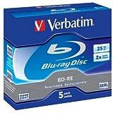 Verbatim 43615 Blu-ray Rewritable Media - BD-RE - 2x - 25 GB - 5 Pack (43615) -