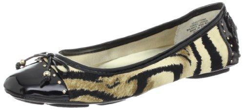 Anne Klein Sport Women's Buttons Ballet Flat,Natural/Black/Black,6 M US