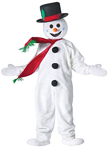 Fun World Costumes Men's Adult Snowman Mascot, White/Black, One Size -