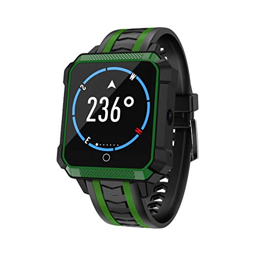 Kariwell 1.54''Square Screen 1+8G Smart Watch - Bluetooth/WiFi/GPS/ IP68 Waterproof/HD Camera/Heart Rate/Multi-Sport Mode/Activity Tracking Sports Watch for Business Elite Sport Men Kari-211 (Green) ()