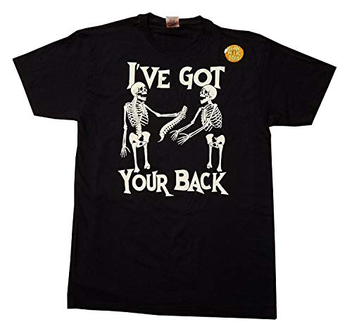 Halloween Mens Glow in The Dark I've Got Your Back Skeleton Graphic T-Shirt (X-Large -