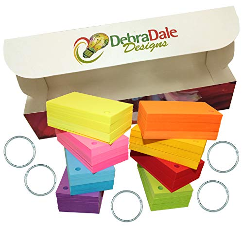 Debra Dale Designs - 560 Small Blank Study Flash Cards - Single Hole Punched - 5 Rings - 2 x 3.5 - 8 Astrobrights Cardstock Colors - 70 Each Color - Premium Heavy 100# Cover Card Stock