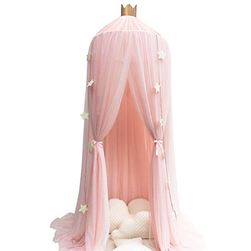 (Didihou Mosquito Net Bed Canopy Yarn Play Tent Bedding for Kids Playing Reading with Children Round Lace Dome Netting Curtains Baby Boys and Girls Games House (Pink))