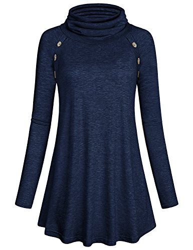 Kimmery Blouses for Women Ladies Long Raglan Sleeve Top Stylish Funnel Neck Vintage T Shirt Pullover Slim Fit Tunic Navy Blue XL