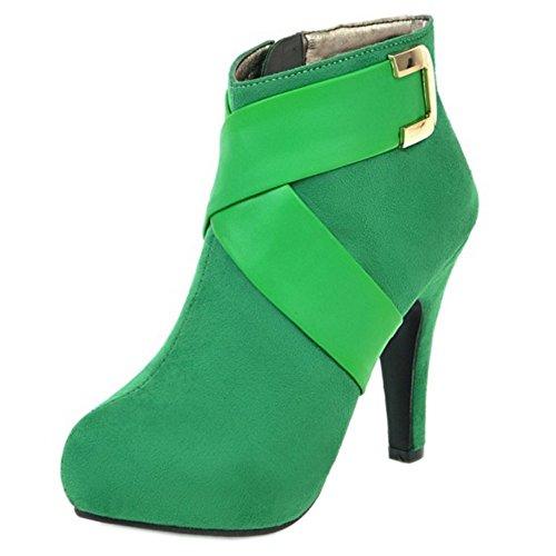 Thin Party Fashion Heel High Women COOLCEPT Boots Dress Green Zipper fAFqwFE