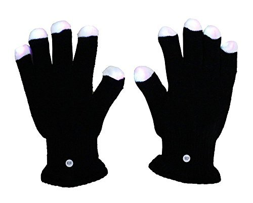 Lumiparty Blacked Out Glove LED 6 Colors Light Show Gloving and Lightshow Dancing Gloves for Clubbing, Rave, Birthday, Disco and Party