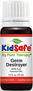 Plant Therapy KidSafe Germ Destroyer Synergy Essential Oil Blend. 100% Pure, Undiluted, Therapeutic Grade. Blend of: Spruce, Marjoram, Lavender, Rosalina and Lemon. 10 ml (1/3 oz).