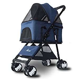 GWM Cachorro Gato Mascota Cochecito de Viaje Carrito para Mascotas Sillón de Paseo Frenos Traseros Carga máxima 20 kg (Color : Azul): Amazon.es: Hogar