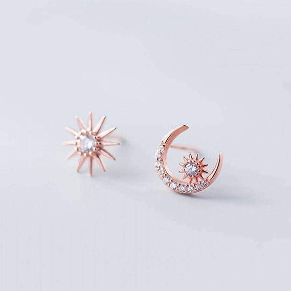 Earring Dangler Eardrop Stud Earring S925 Silver Earrings Female Wind Small Fresh Diamond Sun Asymmetric Curved Moon Earrings Jewelry for Women WOZUIMEI
