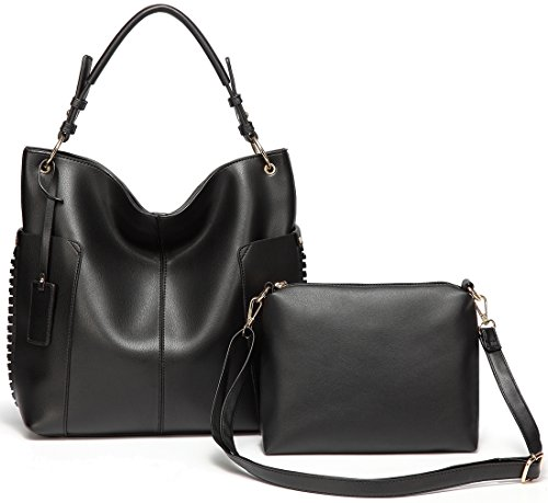 Hobo Bag Purse for Women,Vaschy Faux LeatherConvertible Top Handle Handbag Shopper Tote Bag with Small Crossbody Shoulder Bag Black