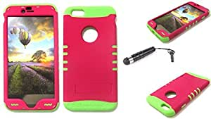 Cell-Attire Shockproof Hybrid Case For Apple Iphone 6 Plus and Stylus Pen, Green Soft Rubber Skin with Hard Cover (Neon Red) AT&T, T-Mobile, Sprint, Verizon, Boost Mobile, U.S Cellular, Cricket by Maris's Diary