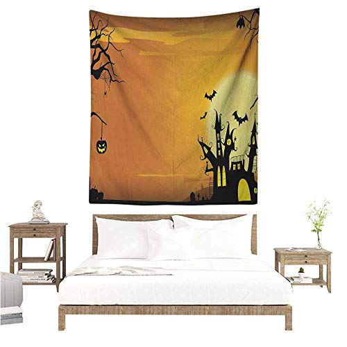(WilliamsDecor Beach Throw Blanket Halloween Gothic Haunted House Bats Western Spooky Night Scene with Pumpkin Drawing Art 70W x 93L INCH Suitable for Bedroom Living Room)